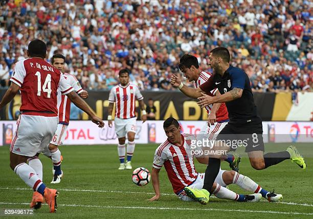 USA's Clint Dempsey gestures during the Copa America Centenario football tournament match against Paraguay in Philadelphia Pennsylvania United States...