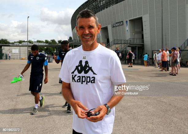 's coach JeanLouis Garcia arrives for the first training session of their club for the French football league season at the Aube Stadium in Troyes on...