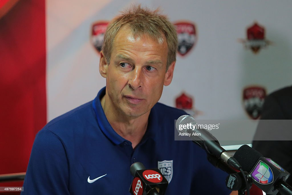 USA's coach Juergen Klinsmann listens intently during a post match press conference after the World Cup Qualifier between Trinidad and Tobago and USA as part of the FIFA World Cup Qualifiers for Russia 2018 at Hasely Crawford Stadium on November 17, 2015 in Port of Spain, Trinidad & Tobago.