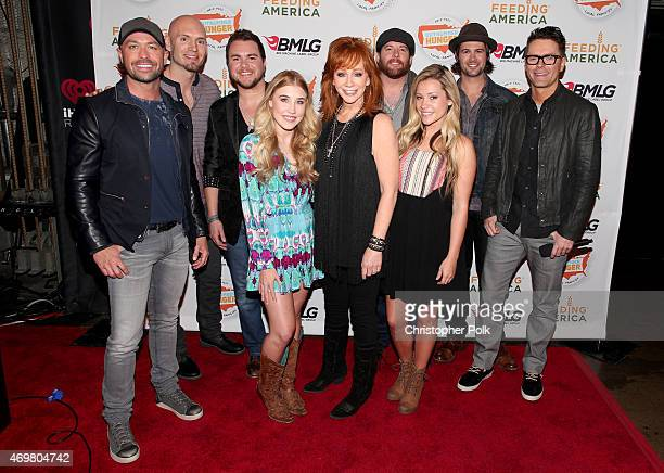 CMT's Cody Alan Jon Jones Mike Eli Madison Marlow Reba McEntire Taylor Dye James Young Chris Thompson and iHeart's Bobby Bones at the 'Reba and...