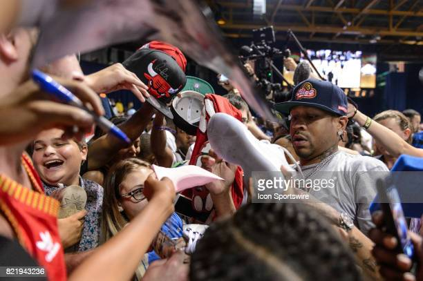 3's Company playercoach and captain Allen Iverson signs autographs during a BIG3 Basketball game on July 23 at the UIC Pavilion in Chicago IL