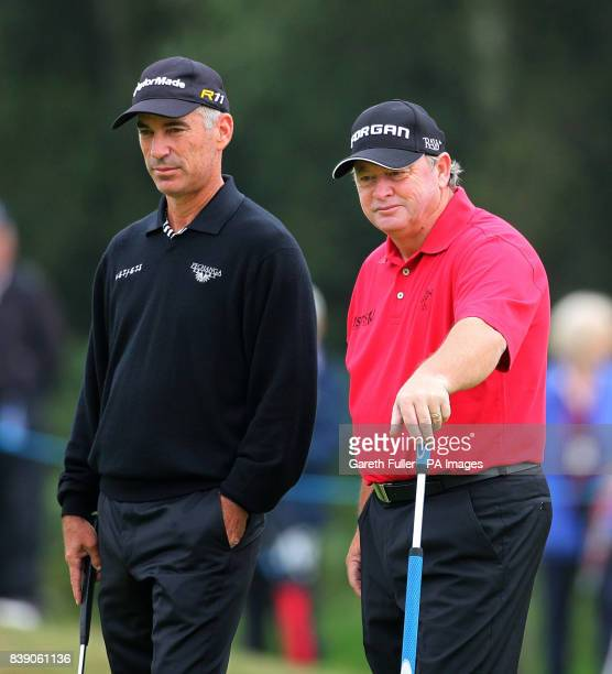 USA's Corey Pavin with Wales' Ian Woosnam during Round One of the Senior Open Championship at Walton Heath Golf Club Surrey