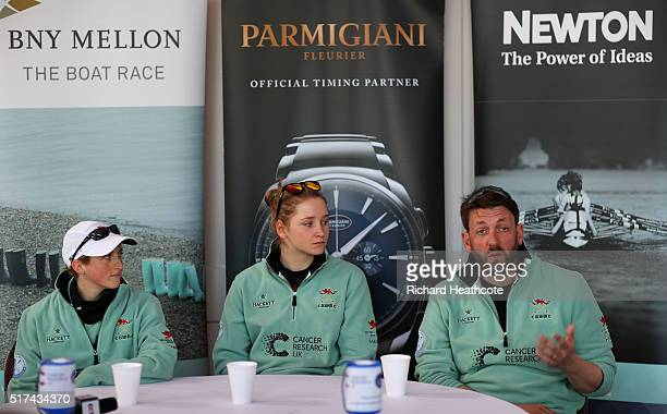 CUWBC's Cox Rosemary Ostfeld President Hannah Roberts and Head Coach Rob Baker speak to the media during Tideway Week leading up to the 2016 Cancer...