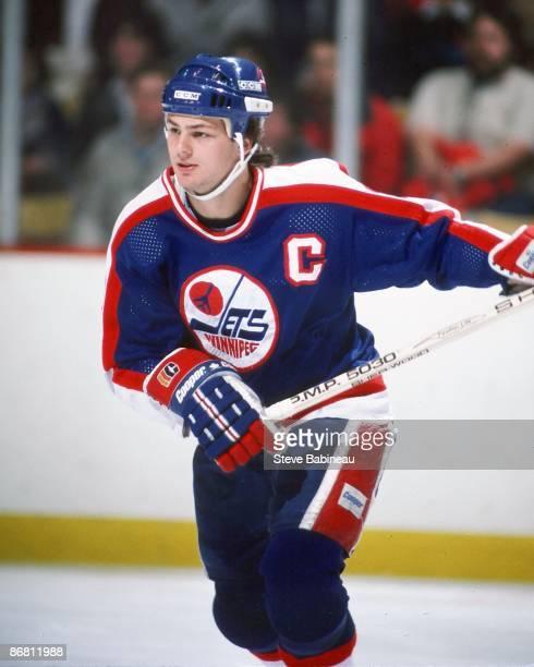 BOSTON MA 1980's Dale Hawerchuk of the Winnipeg Jets skates against the Boston Bruins at Boston Garden