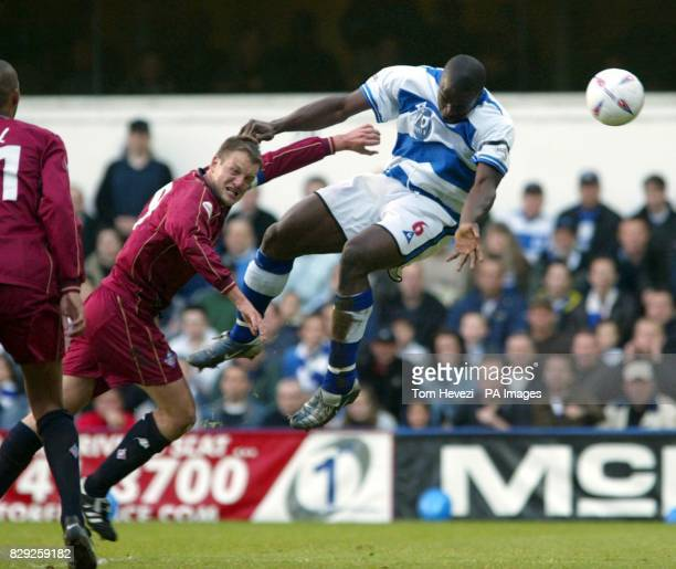QPR's Daniel Shittu and Oldham's Clint Hill during their Nationwide 2nd Division playoff 2nd leg match at Loftus Road THIS PICTURE CAN ONLY BE USED...