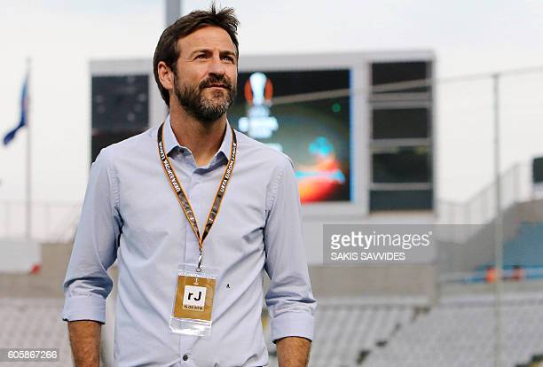 APOEL's Danish coach Thomas Christiansen looks on ahead of their UEFA Europa League Group B football match between Cyprus' APOEL Nicosia and...