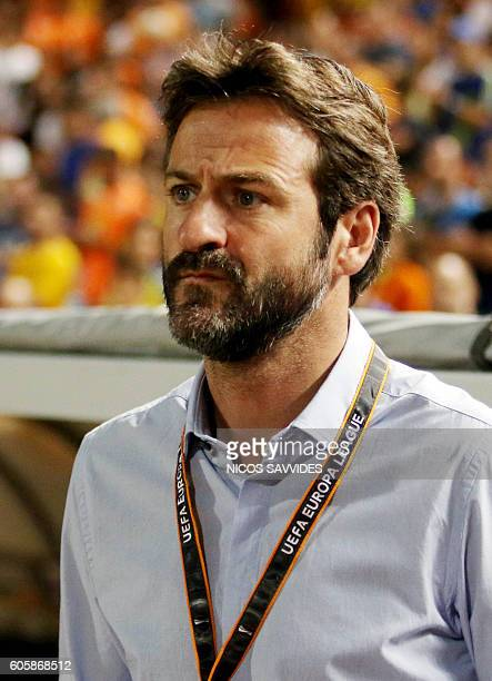 APOEL's Danish coach Thomas Christiansen looks on during their UEFA Europa League Group B football match between Cyprus' APOEL Nicosia and...