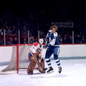 MONTREAL 1970's Darryl Sittler of the Toronto Maple Leafs screens goalie Michel Larocque of the Montreal Canadiens