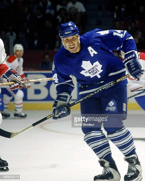 MONTREAL 1990's Dave Andreychuk of the Toronto Maple Leafs skates against the Montreal Canadiens in the early 1990's at the Montreal Forum in...