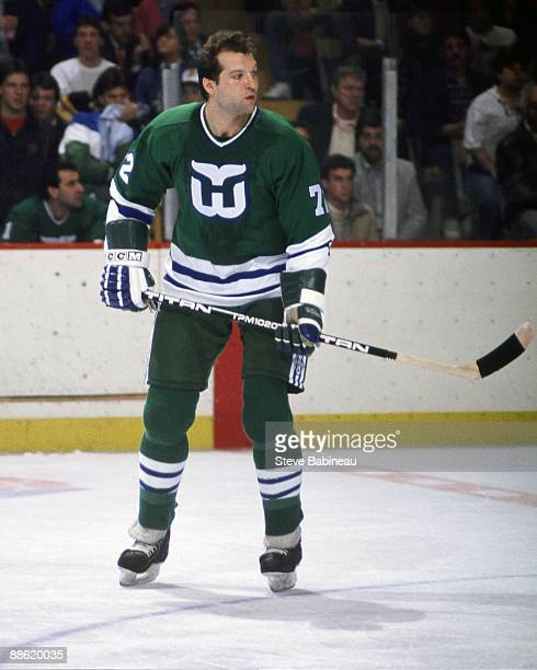 BOSTON MA 1980's Dave Semenko of the Hartford Whalers skates against the Boston Bruins at the Boston Garden in Boston