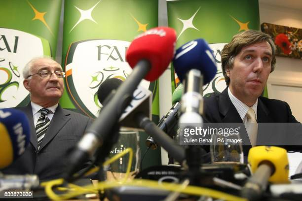 FAI's David Blood and John Delaney during a press conference at the Crowne Plaza Hotel near Dublin Airport Ireland