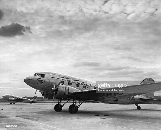 TWA's DC3B at the North Beach Airport New York New York 1937 They were called 'The Lindbergh Line'