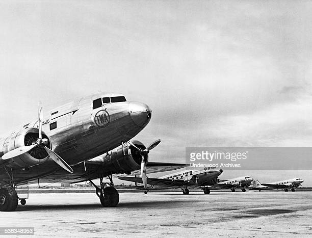 TWA's DC3B at the North Beach Airport now La Guardia with various other DC3s of other airlines in the background New York New York 1937