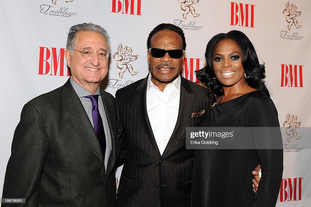 BMI's <a gi-track='captionPersonalityLinkClicked' href=/galleries/search?phrase=Del+Bryant&family=editorial&specificpeople=239201 ng-click='$event.stopPropagation()'>Del Bryant</a>, Edwin Hawkins and BMI's Catherine Brewton attend the 14th annual BMI Trailblazers of Gospel Music Awards at Rocketown on January 18, 2013 in Nashville, Tennessee.