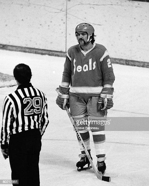 BOSTON MA 1970's Dennis Maruk of the California Golden Seals waiting for face off in game against the Boston Bruins at Boston Garden