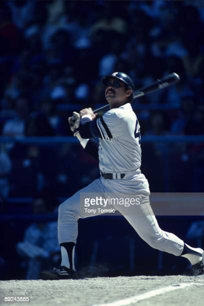 CLEVELAND OH LATE1970's Designatedhitter Reggie Jackson of the New York Yankees watches the ball he's just hit during a game in the late1970's...