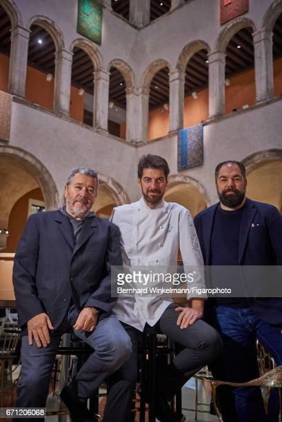 AMO's designer Philippe Starck Italian chef Massimiliano Alajmo and AMO's CEO Raffaele Alajmo are photographed for Madame Figaro on November 29 2016...