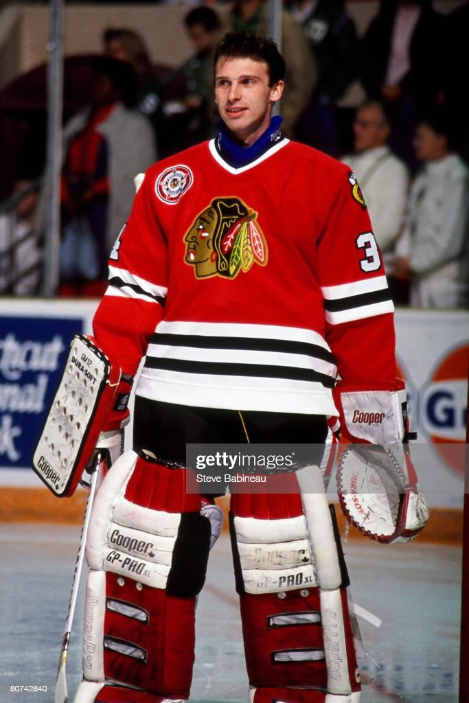 BOSTON MA 1990's Dominik Hasek of the Chicago Black Hawks in pre game skate at Boston Garden Garden