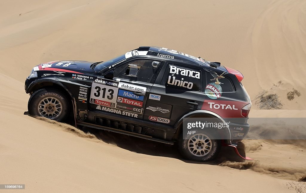 BMW's driver Orlanda Terranova of Argentina and co-driver Paulo Fiuza of Portugal compete during the Stage 13 of the 2013 Dakar Rally between Copiapo and La Serena, in Chile, on January 18, 2013. The rally is taking place in Peru, Argentina and Chile from January 5 to 20.