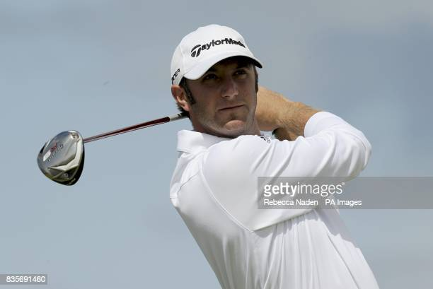 USA's Dustin Johnson during practice day one at Turnberry Golf Club