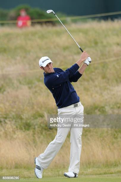 USA's Dustin Johnson in action during practice day three at Turnberry Golf Club