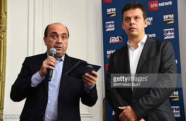 BFM TV's editorial director Herve Beroud and editorial director of BFM Paris Alexis Delahousse address a press conference on the launch of the news...