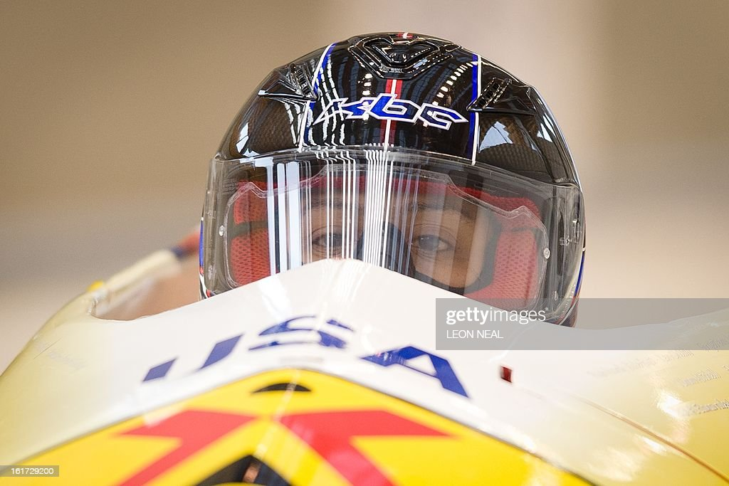 USA's Elana Meyers takes part in a Women's Bobsleigh training run at the Sanki Sliding Centre, one of the 2014 Winter Olympics venues, at Rzhanaya Polyana, 60 km northeast of the Black Sea city of Sochi, on February 14, 2013. With a year to go until the Sochi 2014 Winter Games, construction work continues as tests events and World Championship competitions are underway.