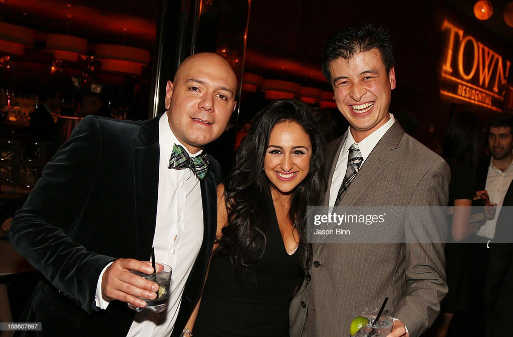 TOWN's Elkin J. Serna, Daniela Zakarya and Takk Yamaguchi attend TOWN Residential's holiday party in celebration of its two year anniversary at the Dream Downtown on December 10, 2012 in New York City.