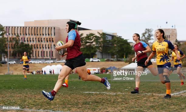 UQ's Emilee Cherry during the Women's University Sevens match between University of Queensland and Bond on September 17 2017 in Brisbane Australia