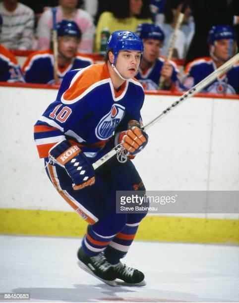 ... BOSTON MA 1980s Esa Tikkanen of the Edmonton Oilers skates against the  Boston Bruins at the ... 0aa63b330