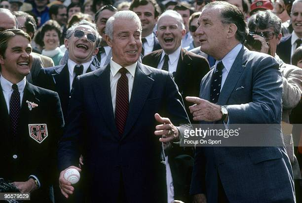 BRONX NY CIRCA 1980's Ex New York Yankee Great Outfielder Joe DiMaggio with Baltimore Orioles owner Edward Bennett Williams circa 1980's before a...