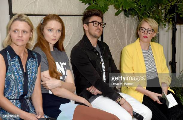 BRITA's Faye Napper Lily Cole Henry Holland and Emma Gannon attend the launch of recycled plastic #swapforgood charity tshirts designed by Henry...