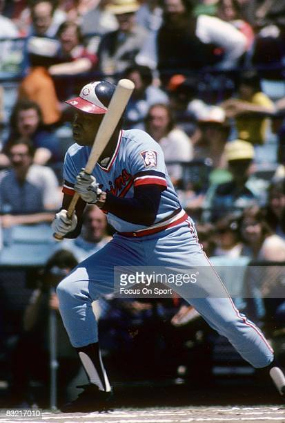 CIRCA 1970's First baseman Rod Carew of the Minnesota Twins looking to bunt the ball during a MLB baseball game circa early 1970's Carew played for...