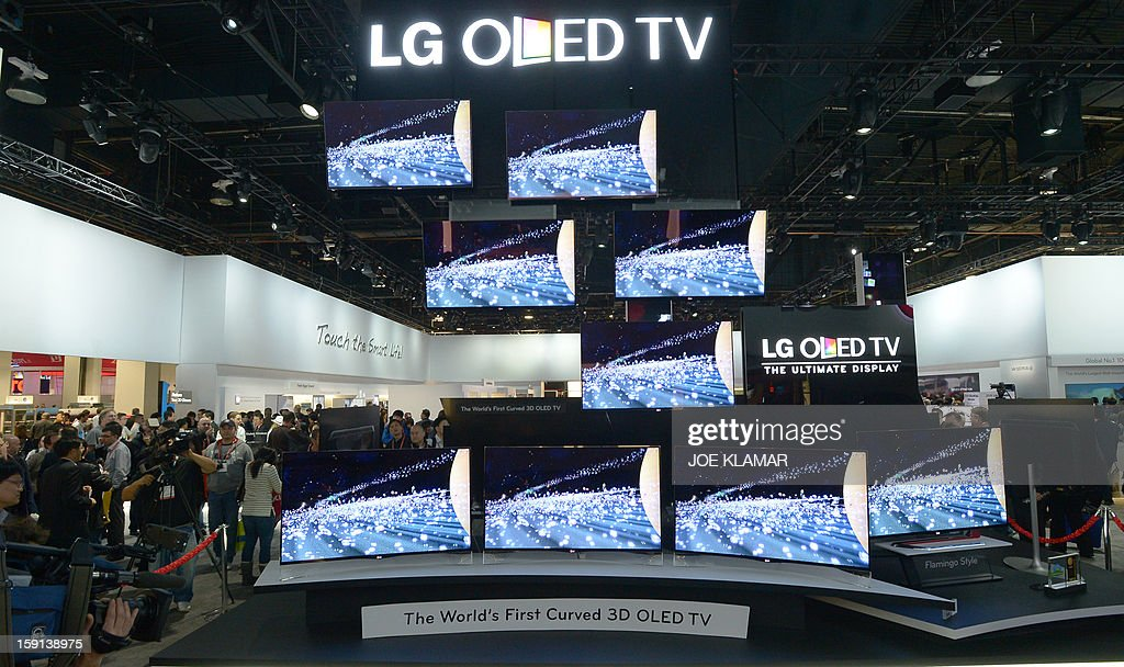 LG's first curved OLED TVs are seen during the 2013 International CES at the Las Vegas Convention Center on January 8, 2013 in Las Vegas, Nevada. CES, the world's largest annual consumer technology trade show, runs from January 8-11 and is expected to feature 3,100 exhibitors showing off their latest products and services to about 150,000 attendees.
