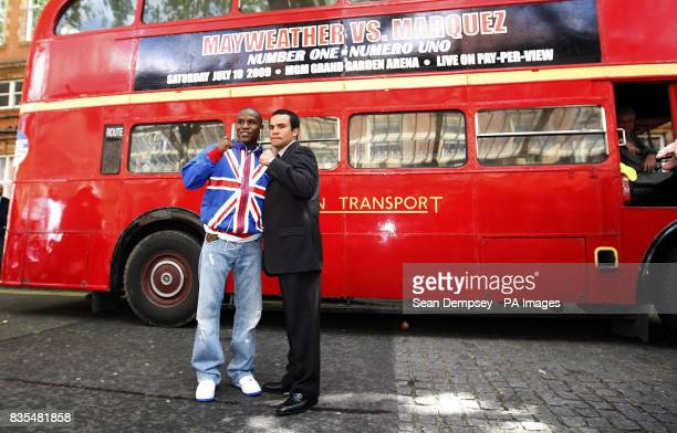 USA's Floyd Mayweather and Mexico's Juan Manuel Marquez during a photocall near the Landmark Hotel London