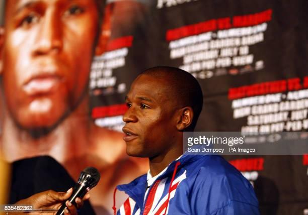 USA's Floyd Mayweather during a press conference at the Landmark Hotel London