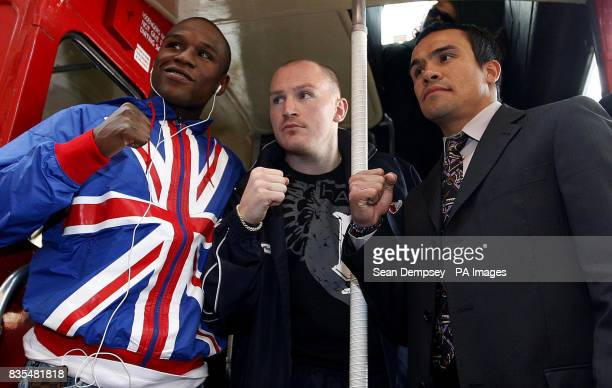 USA's Floyd Mayweather England's Matthew Hatton and Mexico's Juan Manuel Marquez during a photocall near the Landmark Hotel London