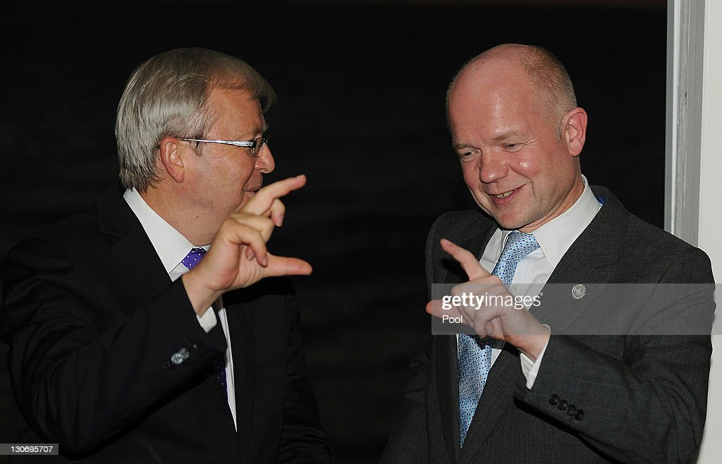 UK's Foreign Minister <a gi-track='captionPersonalityLinkClicked' href=/galleries/search?phrase=William+Hague&family=editorial&specificpeople=206295 ng-click='$event.stopPropagation()'>William Hague</a> (R) speaks with Australia's Foreign Minister <a gi-track='captionPersonalityLinkClicked' href=/galleries/search?phrase=Kevin+Rudd&family=editorial&specificpeople=707751 ng-click='$event.stopPropagation()'>Kevin Rudd</a> at a reception at Cottesloe Beach during the Commonwealth Heads of Government Meeting (CHOGM) on October 28, 2011 near Perth, Australia. Queen Elizabeth II opened the 54-nation summit today, following a 9-day tour of Australia. The three-day biennial gathering is chaired by Australian Prime Minister, Julia Gillard and concludes on October 30.
