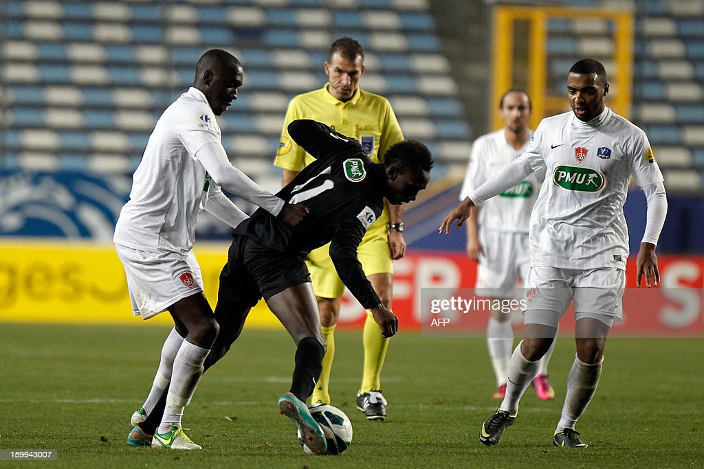 CAB's forward Alassane N'Diaye fight for the ball during the French football Cup match CA Bastia (CAB) vs Brest (SB29) at the Armand Cesari stadium in Bastia, French Mediterranean island of Corsica, on January 23, 2013.