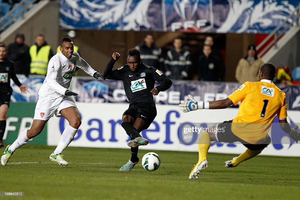 CAB's forward Alassane N'Diaye shoots and scores a goal during the French football Cup match CA Bastia (CAB) vs Brest (SB29) at the Armand Cesari stadium in Bastia, French Mediterranean island of Corsica, on January 23, 2013.