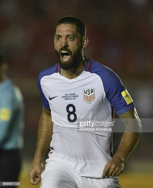 USA's forward Clint Dempsey celebrates after scoring during the 2018 FIFA World Cup qualifier football match against Panama in Panama City on March...