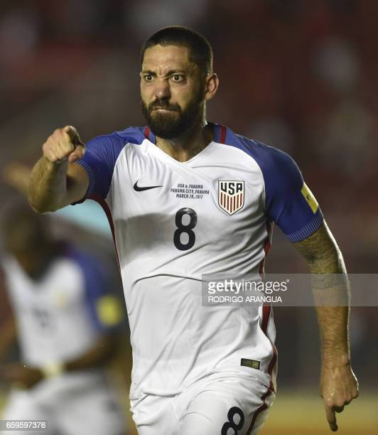 USA's forward Clint Dempsey reacts during the 2018 FIFA World Cup qualifier football match against Panama in Panama City on March 28 2017 / AFP PHOTO...