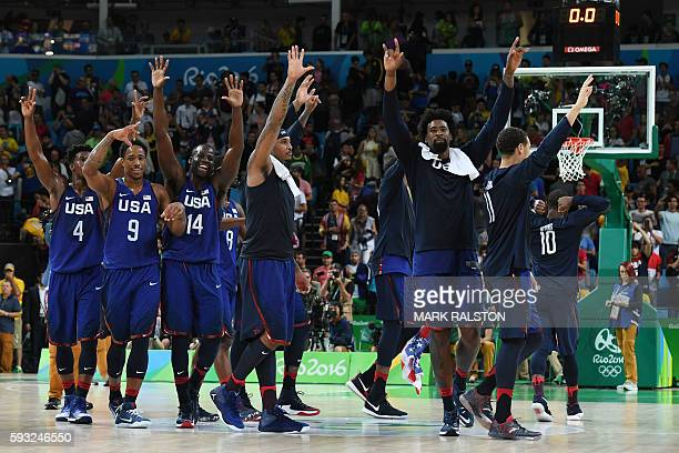 USA's forward Jimmy Butler USA's guard Demar Derozan and USA's forward Draymond Green USA's forward Carmelo Anthony and USA's centre DeAndre Jordan...