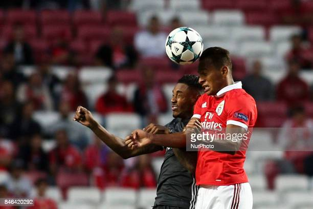 CSKA's forward Vitinho vies with Benfica's midfielder Filipe Augusto during the Champions League football match between SL Benfica and CSKA Moskva at...