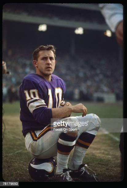 MINNEAPOLIS MN CIRCA 1970's Fran Tarkington of the Minnesota Vikings sits on his helmet on the sidelines during a mid circa 1970's NFL football game...