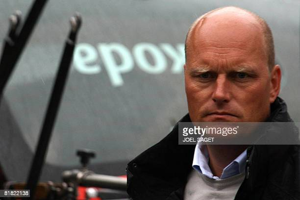 CSC's general manager Danish Bjarne Riis 1996 Tour de France winner is pictured after a press conference of Danish cycling team on July 4 2008 in...