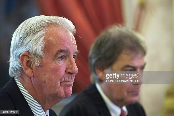 WADA's General manager David Howman and chairman Craig Reedie give a press conference at the national Assembly in Paris on November 16 2014 AFP PHOTO...