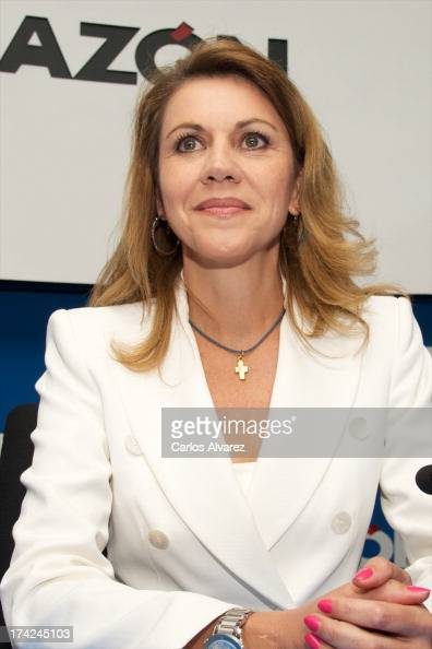 's General Secretary Maria Dolores de Cospedal attends the 'La Razon' newspaper meeting on July 22 2013 in Madrid Spain Maria Dolores de Cospedal has...