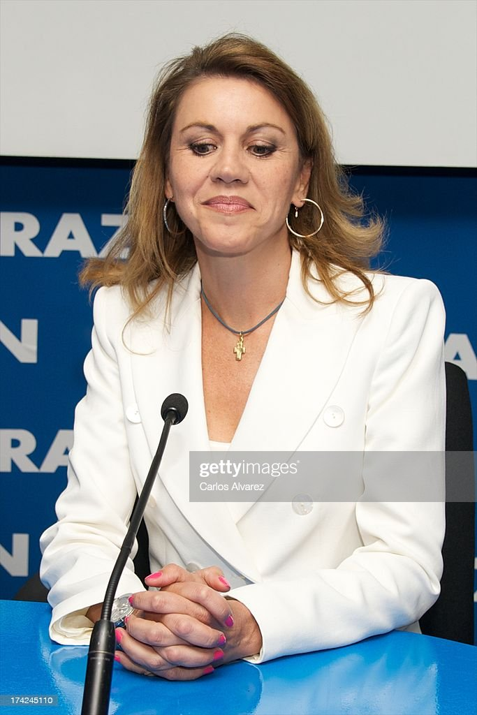 PP (Popular Party)'s General Secretary Maria Dolores de Cospedal attends the 'La Razon' newspaper meeting on July 22, 2013 in Madrid, Spain. Maria Dolores de Cospedal has said that the prime minister Mariano Rajoy will go to parliament to talk about corruption cases involving the government.
