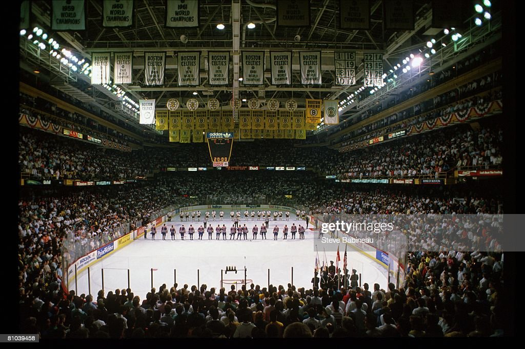 BOSTON MA 1990's General view as Boston Bruins and Edmonton Oilers players line up for National Anthem at Boston Garden
